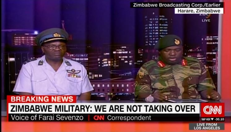 Zimbabwe army denies military takeover in live address on