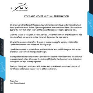 Mzvee & Lynx Entertainment Officially Part Ways